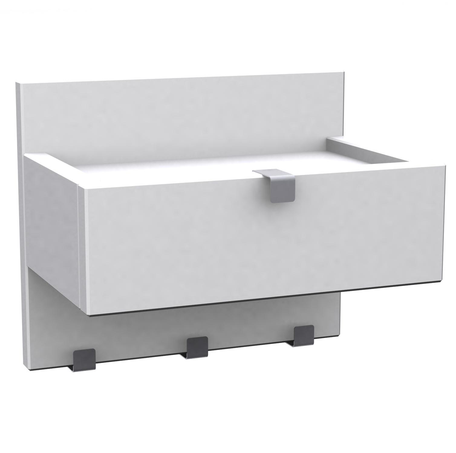 Confetti hylla vit med låda 3 krokar