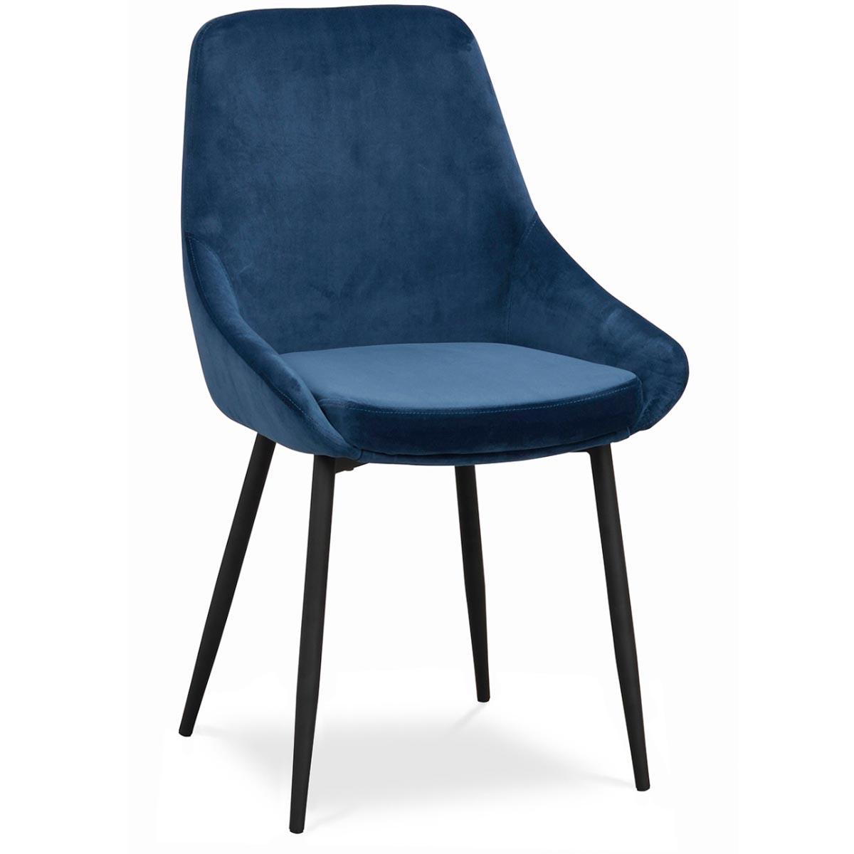 Ebbot stol sammet mörkblå
