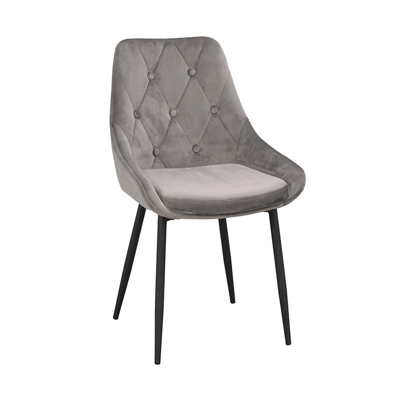 Ontario stol grå sammet svarta ben snett fram