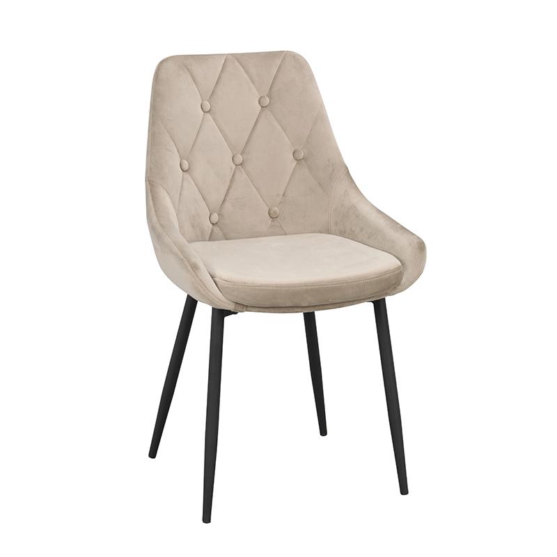 Ontario stol beige sammet svarta ben snett