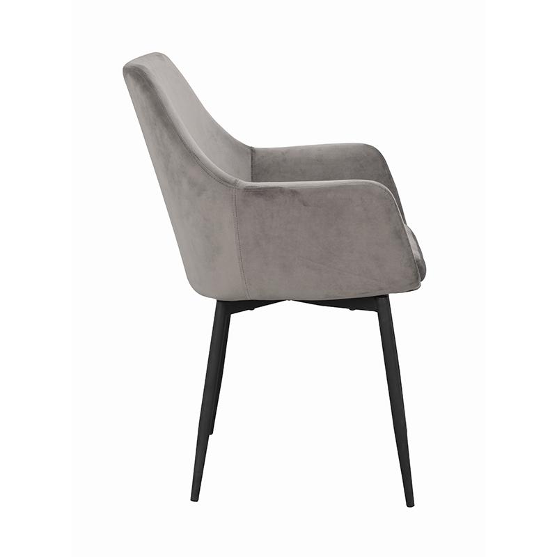 Ramsey stol grå sammet svarta ben sida
