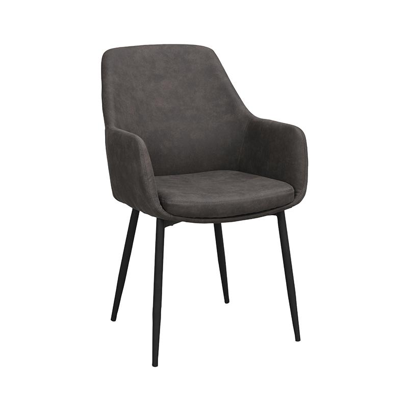 Ramsey stol mörkgrå sammet svarta ben snett fram