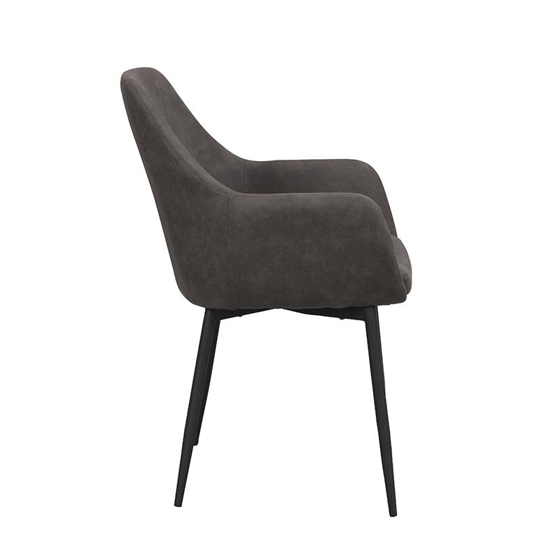 Ramsey stol mörkgrå sammet svarta ben sida