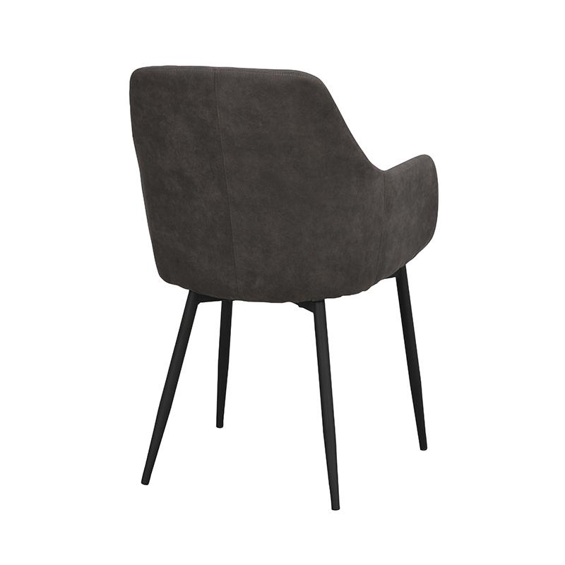 Ramsey stol mörkgrå sammet svarta ben snett bak