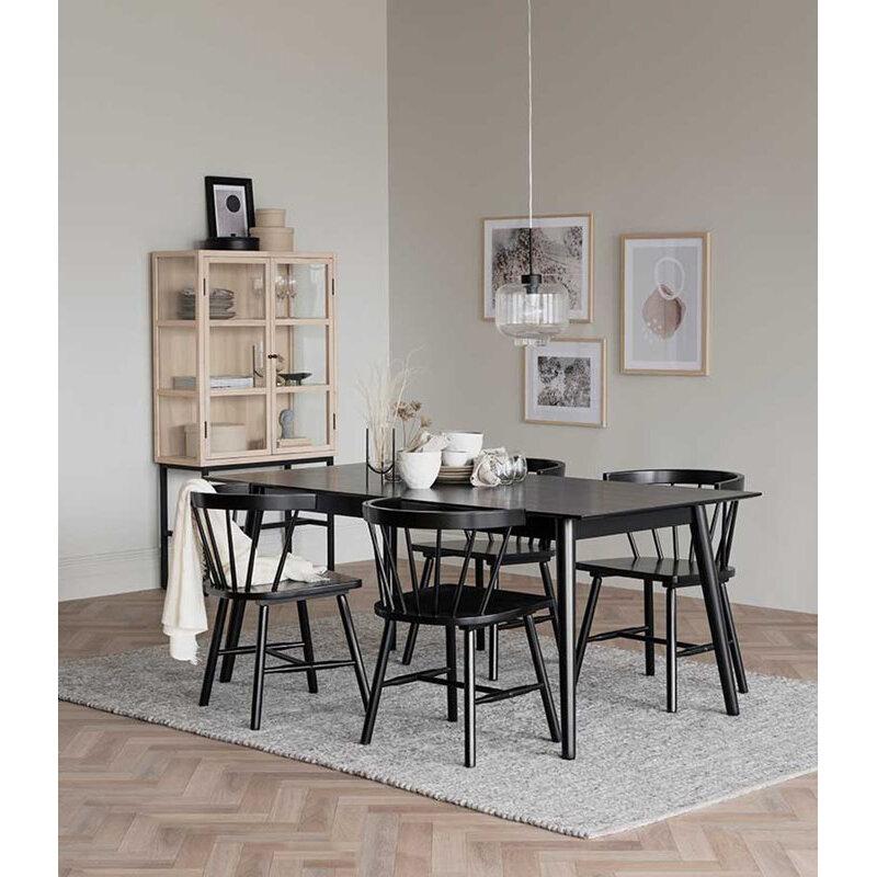 Lotta matbord 180x90 svart askfanér