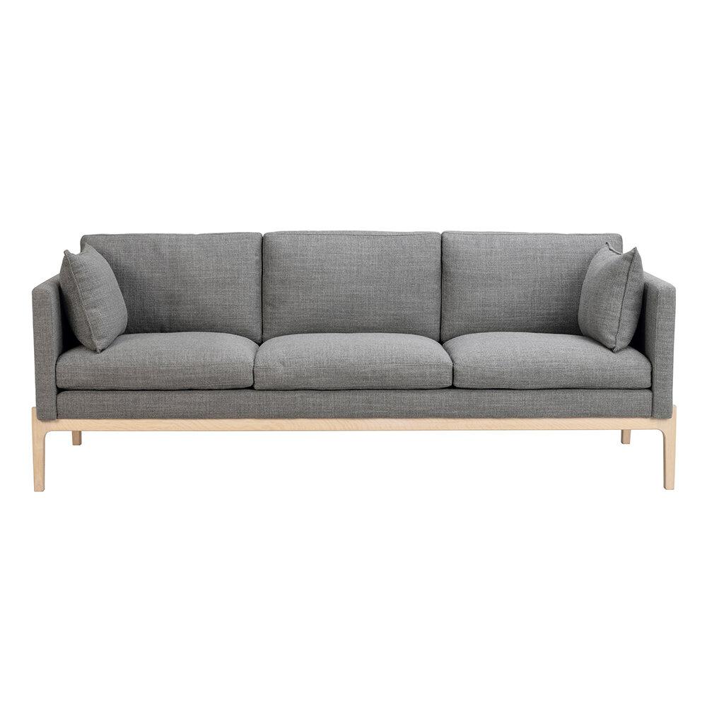 Ness soffa mörkgrått tyg/vitpigmenterad ek
