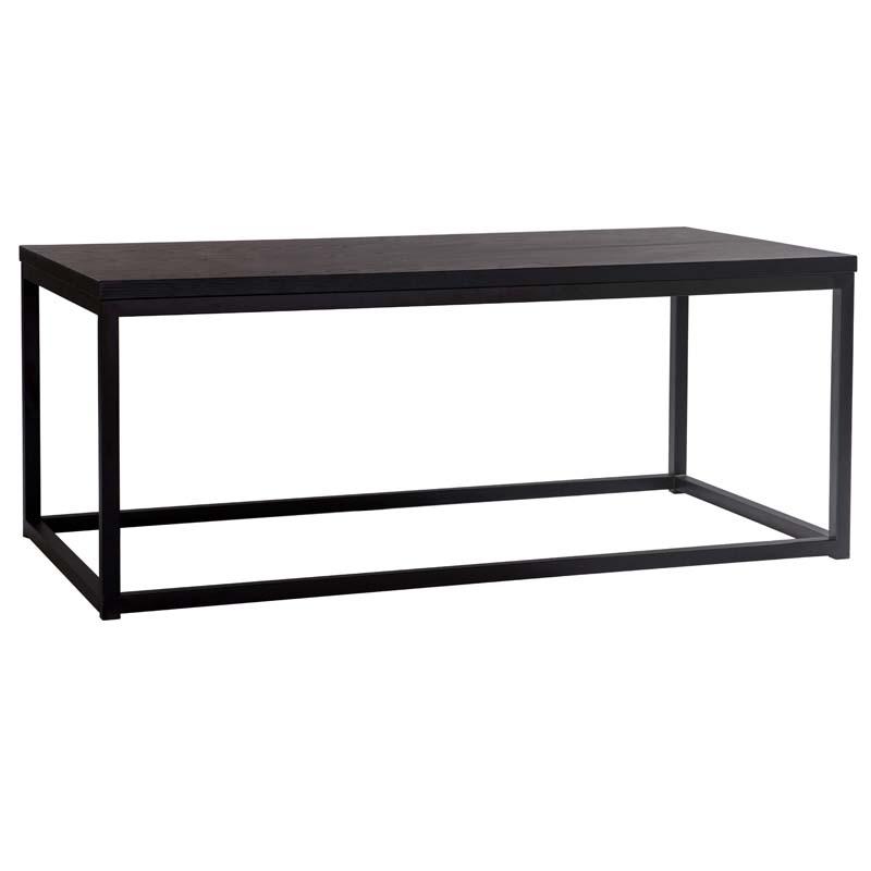 Acero soffbord 120x60 svartbrunlackad askfaner/svart metall vinkel