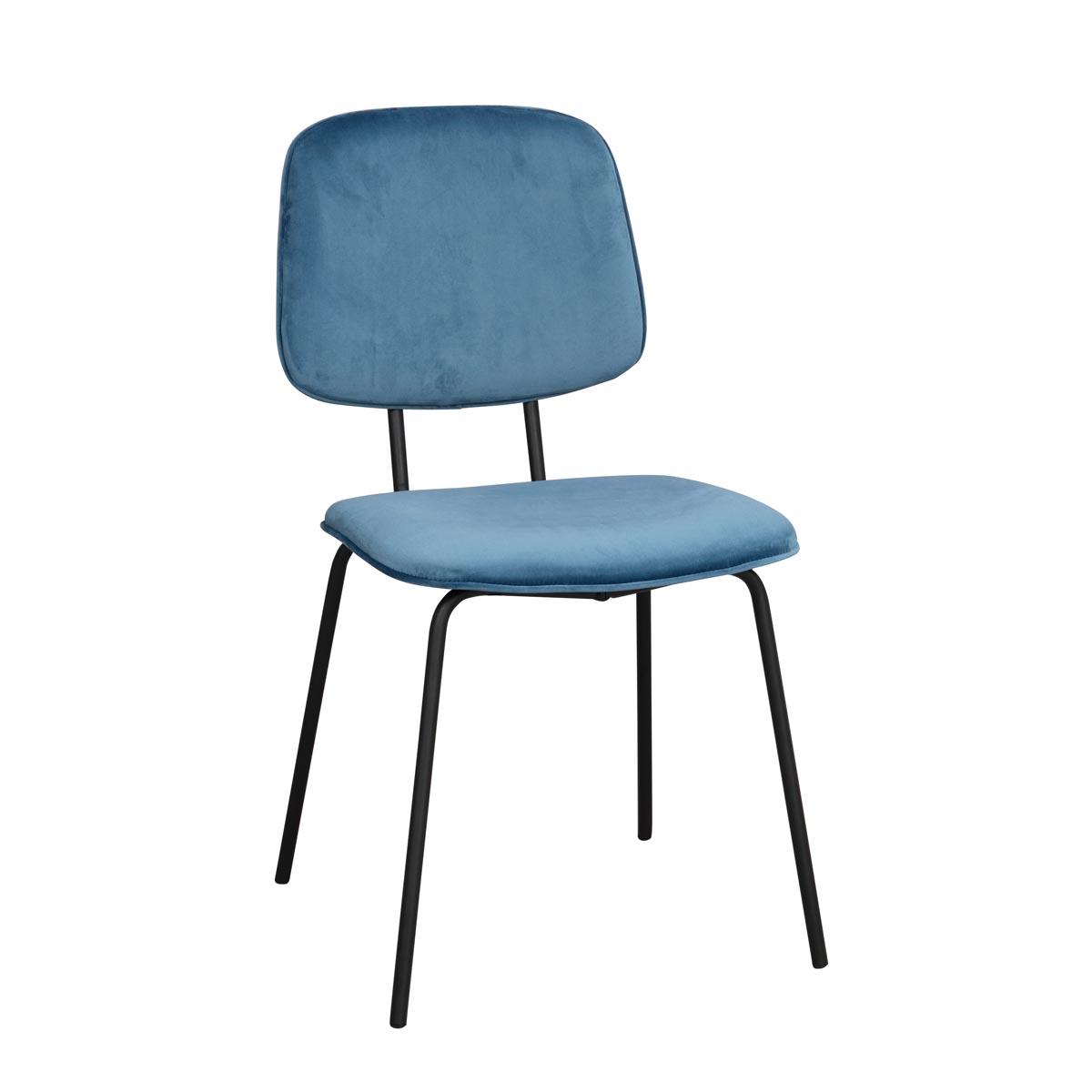 Baldwin stol blå sammet svarta ben