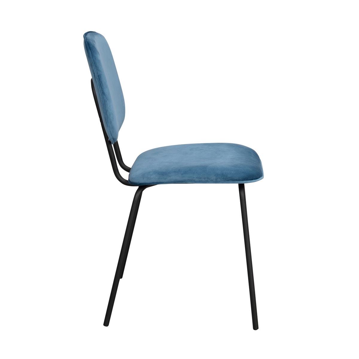 Baldwin stol blå sammet svarta ben sida
