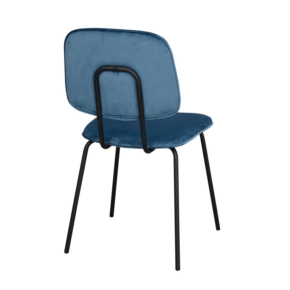 Baldwin stol blå sammet svarta ben rygg