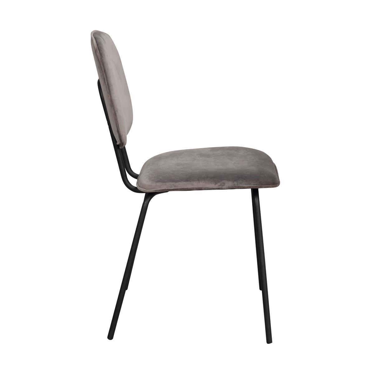 Baldwin stol grå sammet svarta ben sida