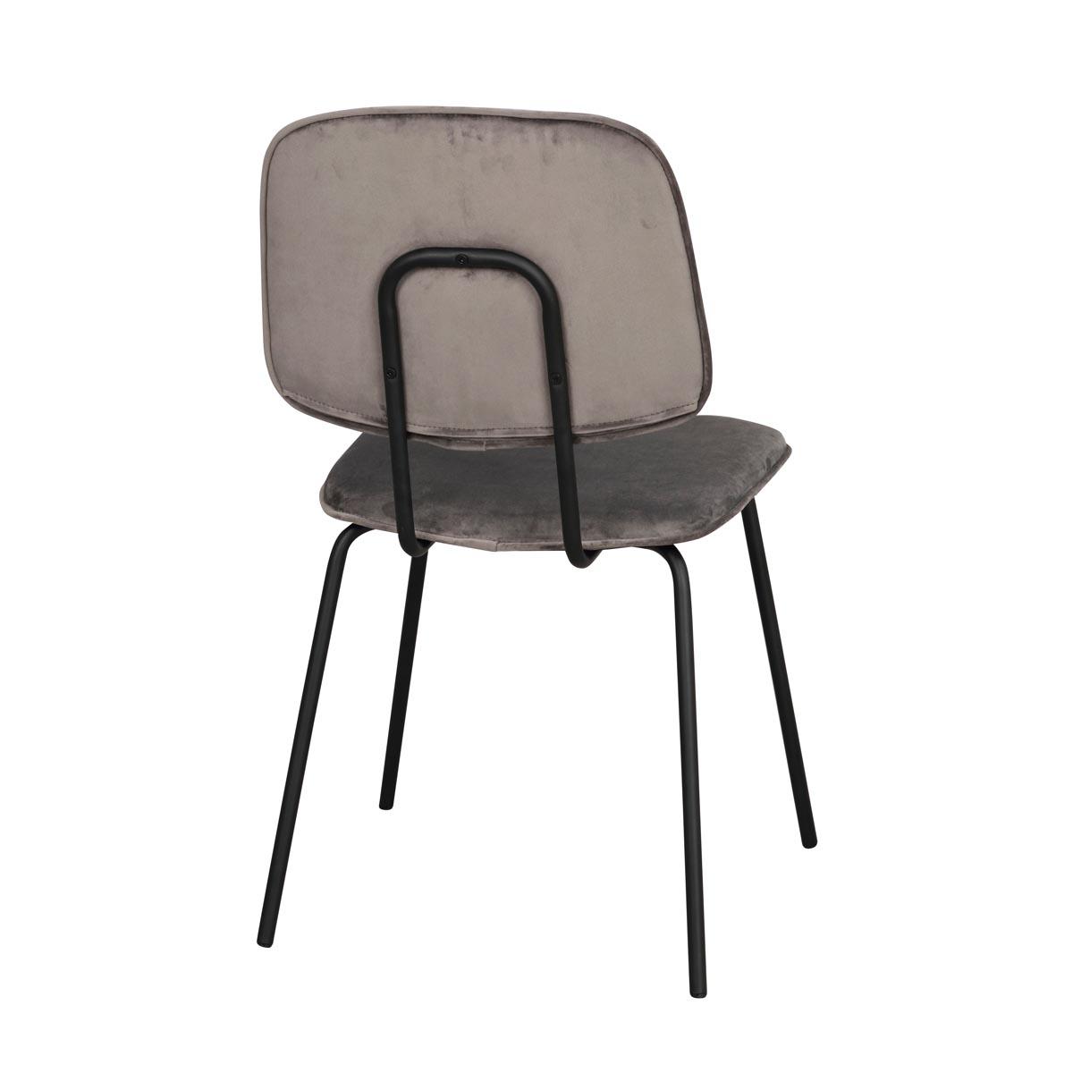 Baldwin stol grå sammet svarta ben rygg