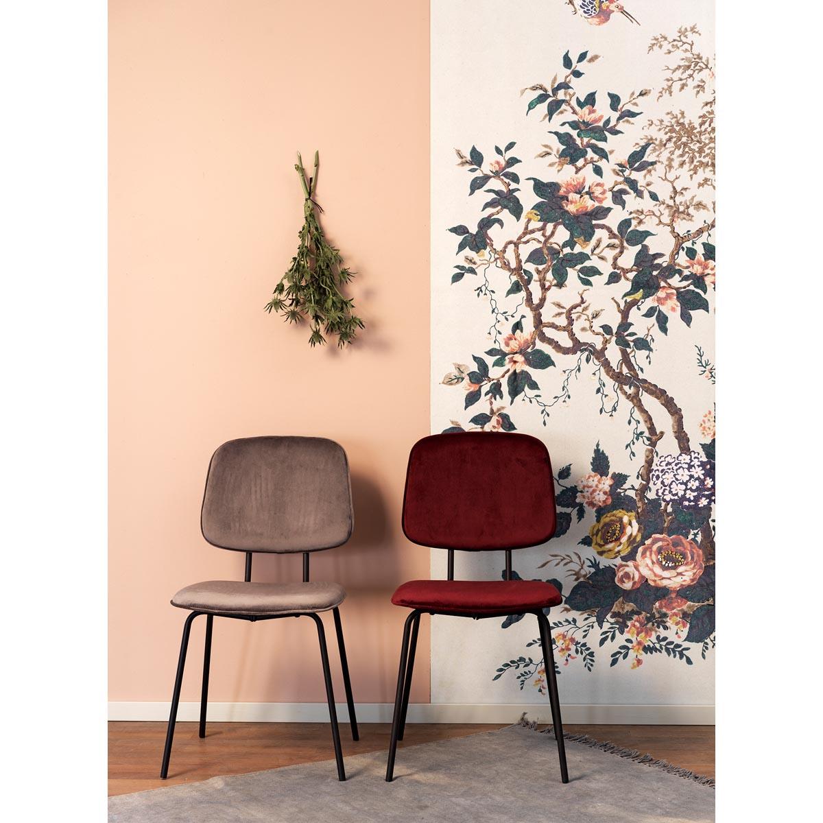 Baldwin stol sammet i miljö grå+röd