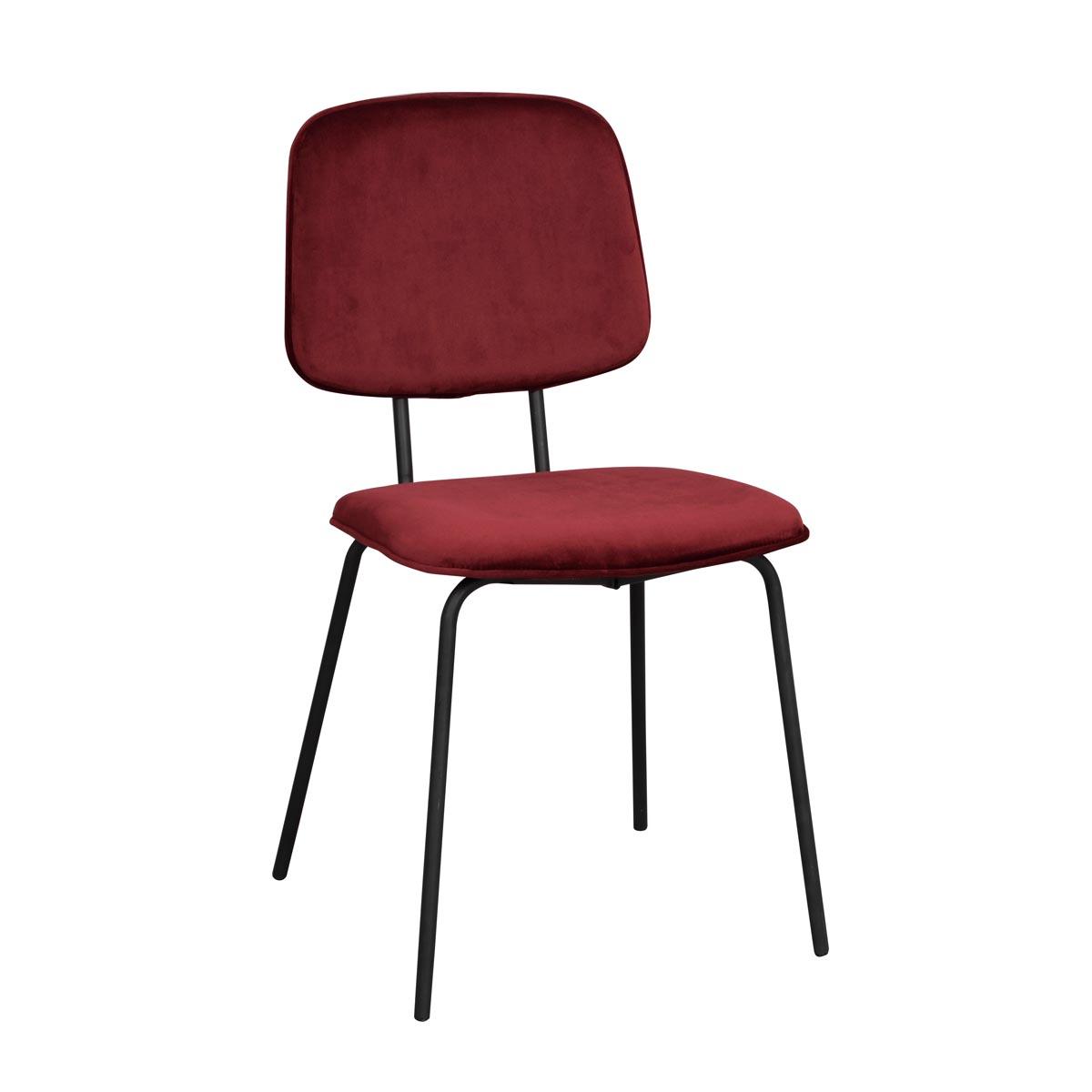 Baldwin stol röd sammet svarta ben