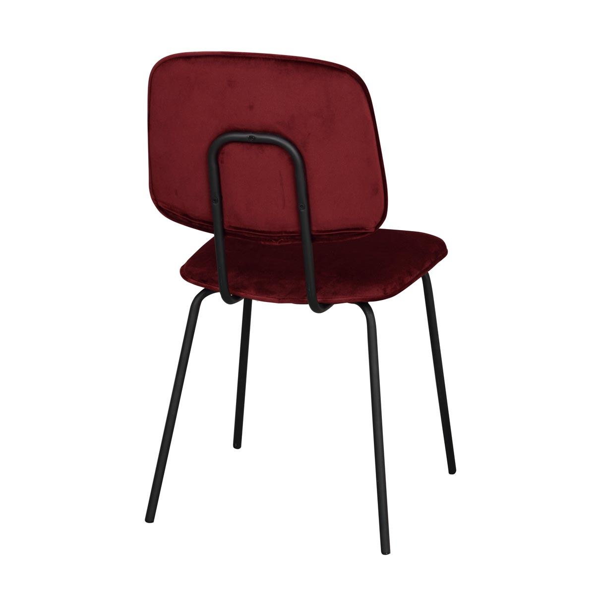 Baldwin stol röd sammet svarta ben rygg
