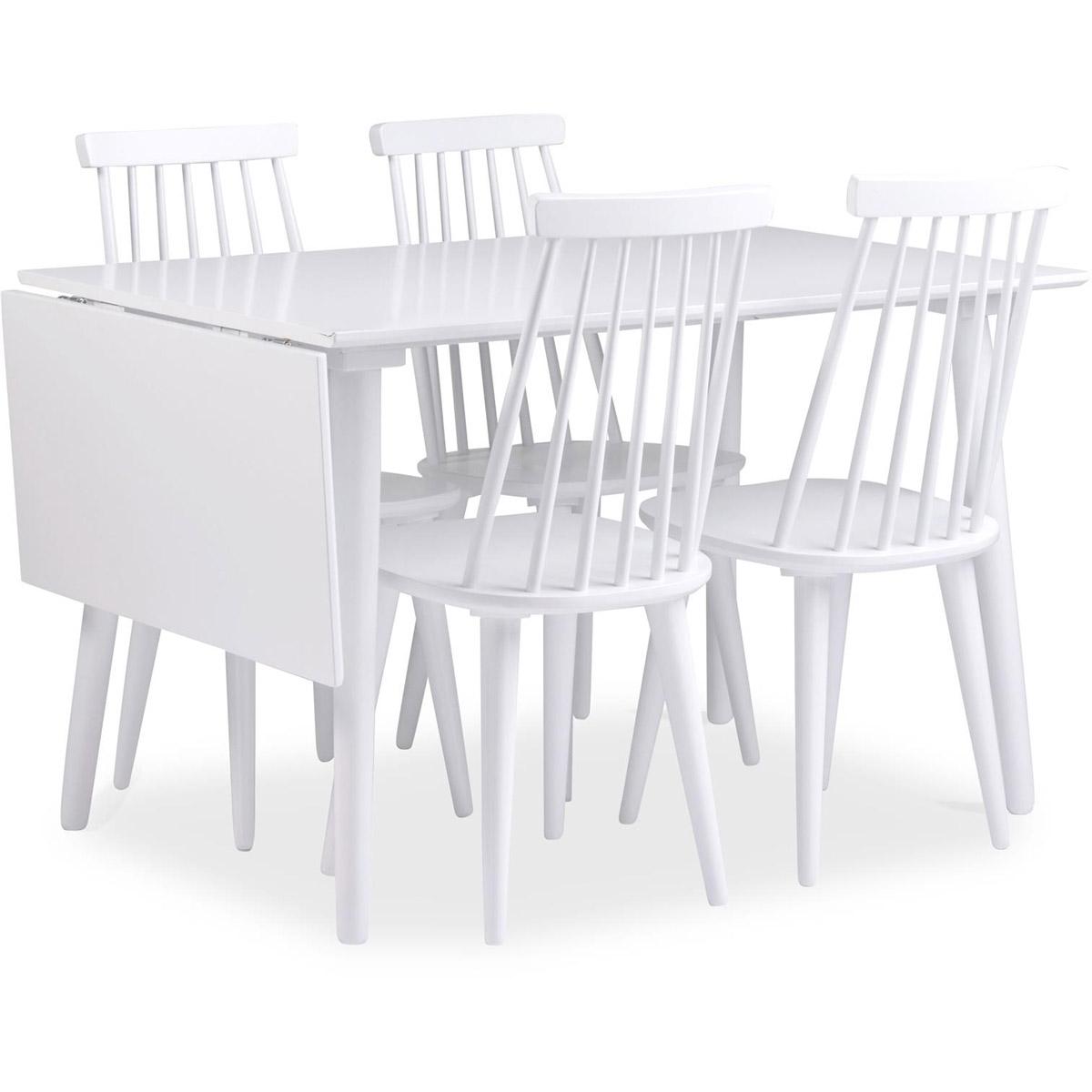 Bohus matgrupp klaffbord 120+40 vit 4 stolar