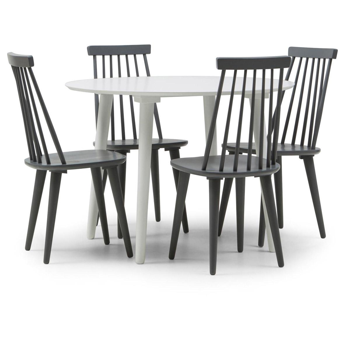 Bohus matgrupp runt bord 106 vit 4 stolar grå