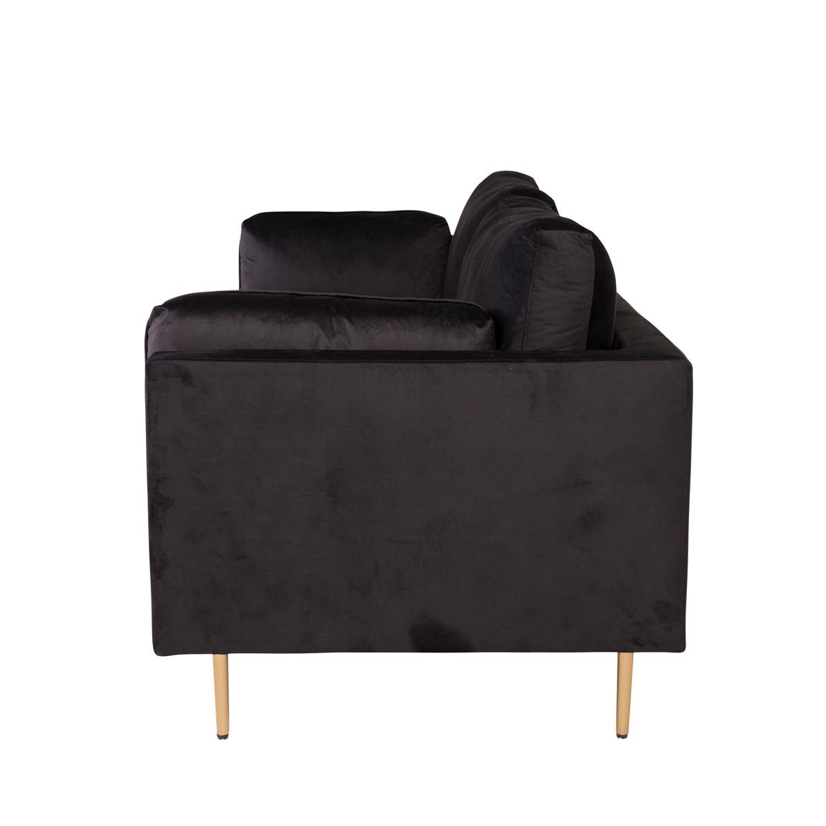 Boom 3-sitssoffa svart sammet sida