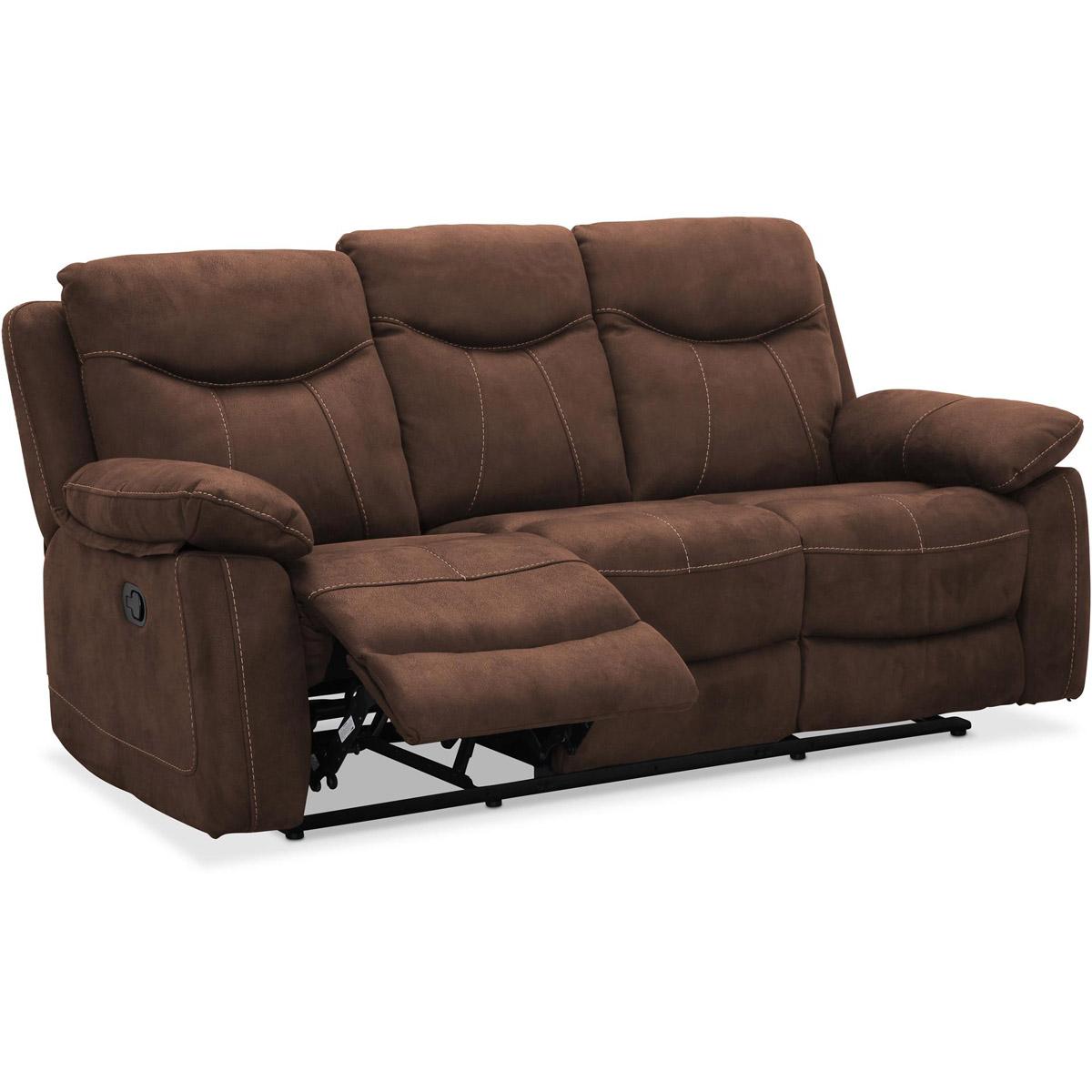 Boston 3-sitssoffa recliner brun micro vinkel fotstöd