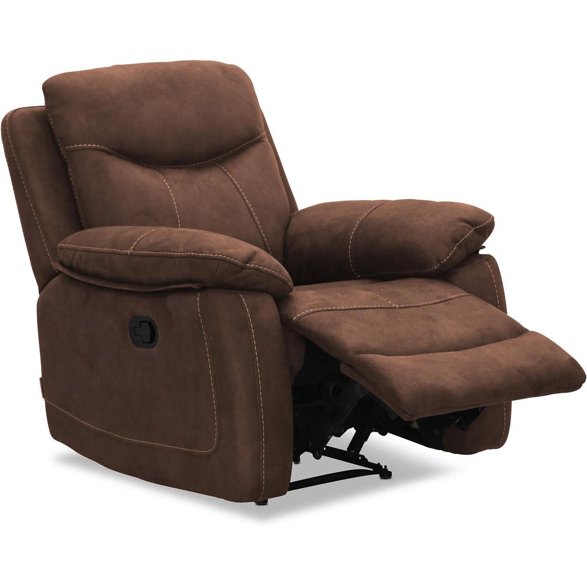 Boston fåtölj recliner brun micro vinkel fotstöd