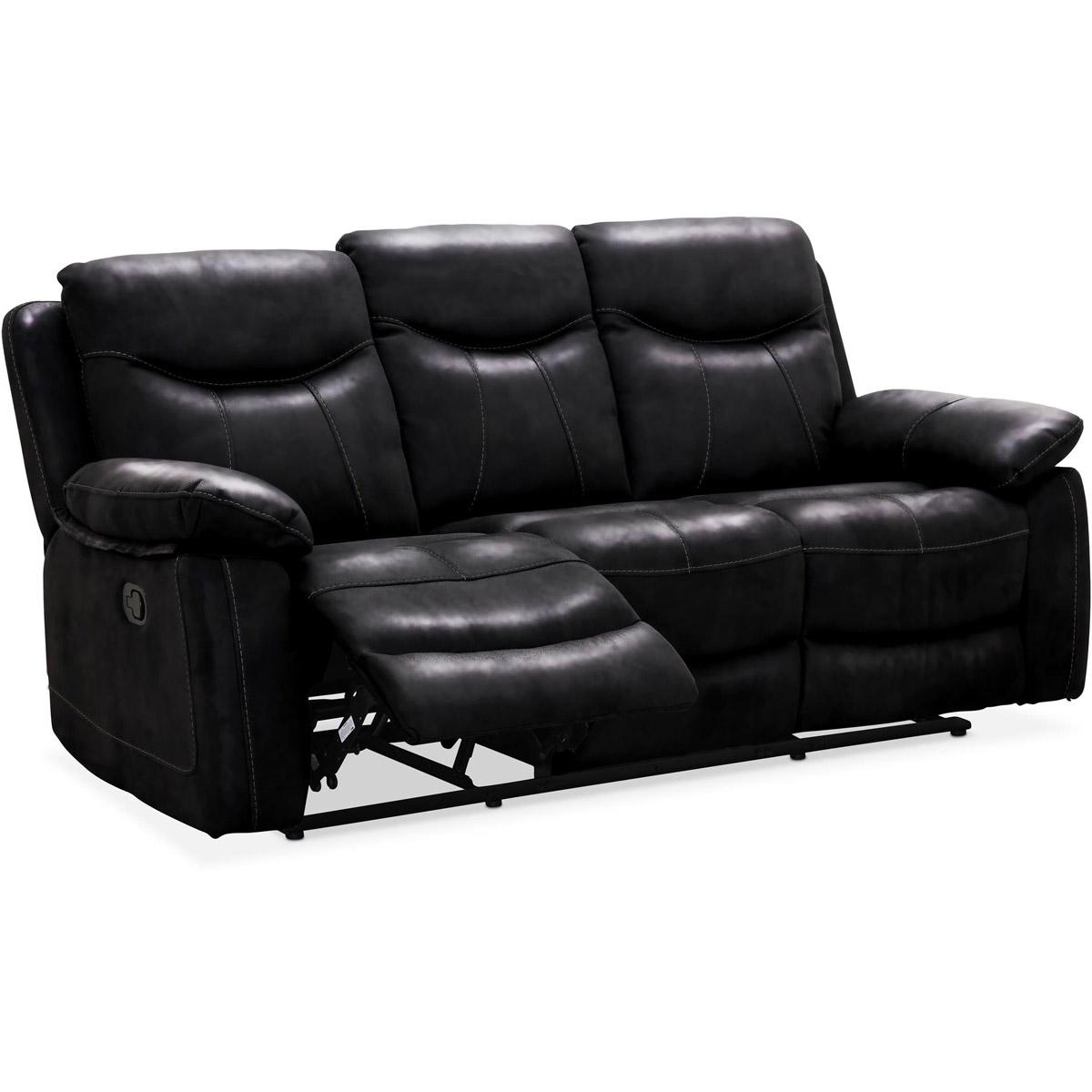 Boston 3-sitssoffa recliner läder svart