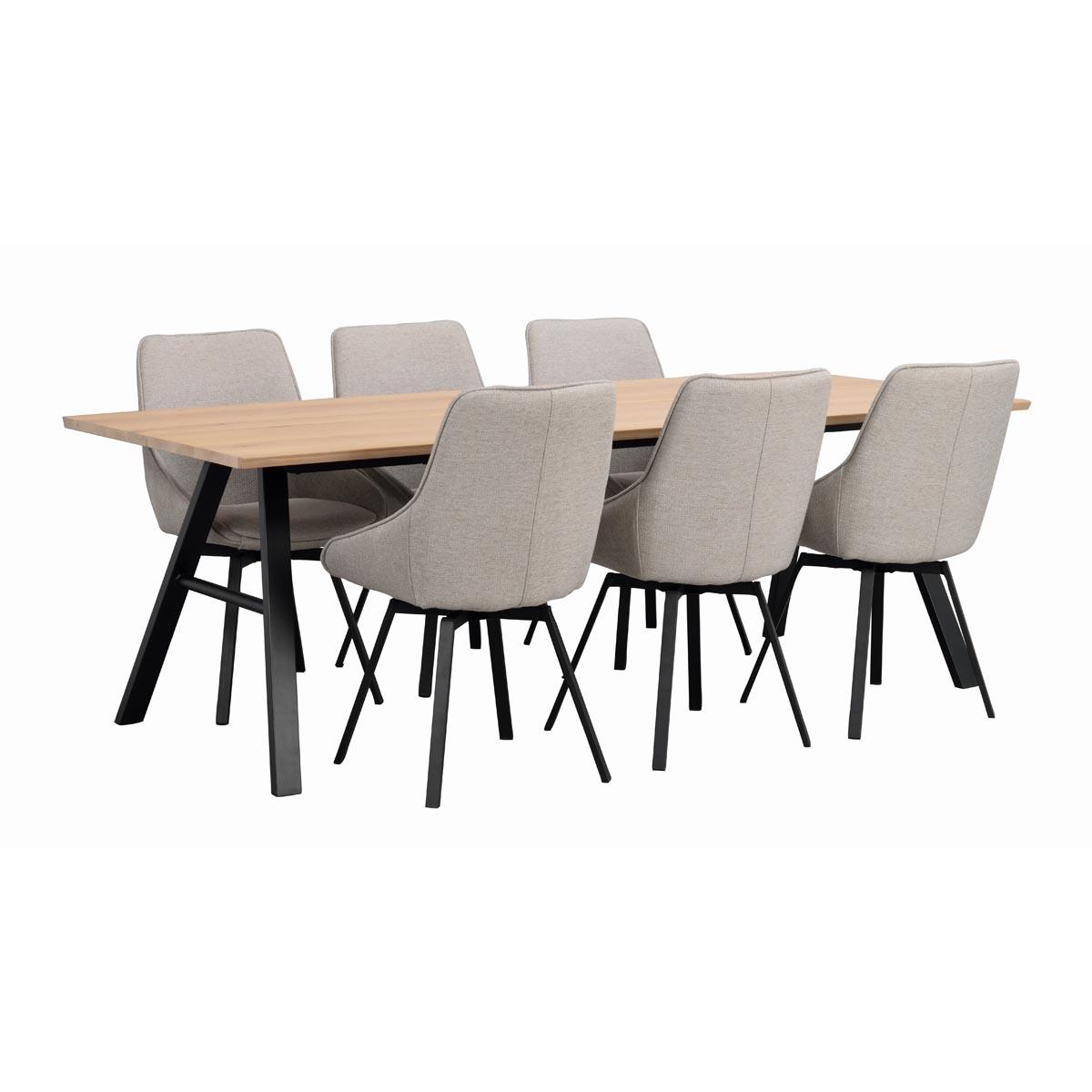 Brigham matbord vitpigm. vildek + Alison stol, ljusgrå_svart a R