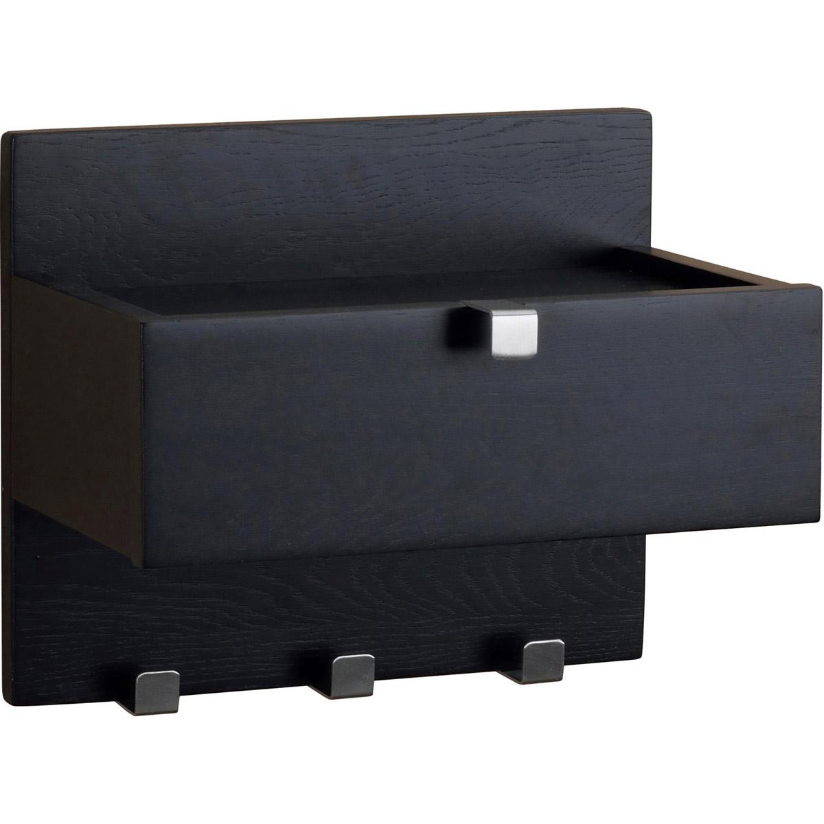Confetti hylla svart med låda 3 krokar