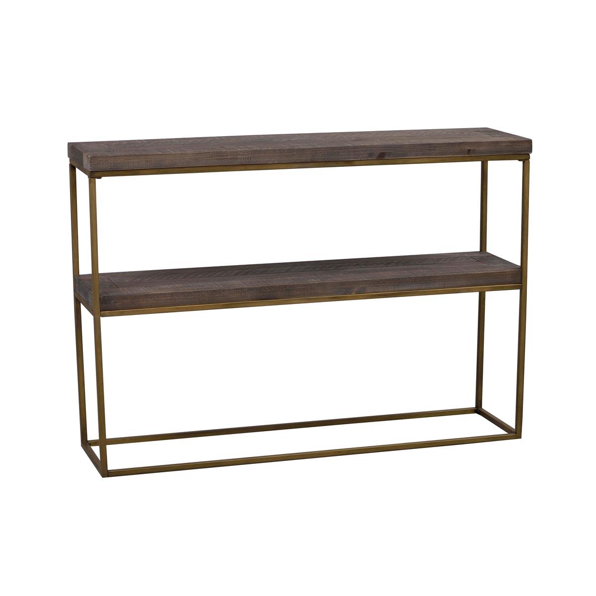 Dalton avlastningsbord brun vintage guld vinkel