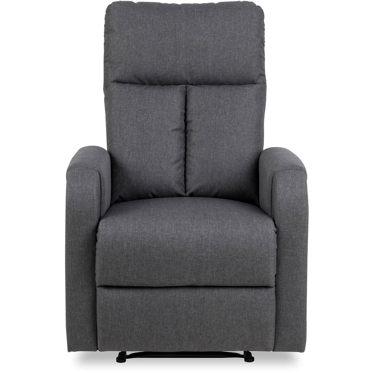 Dublin fåtölj recliner tyg grå fram