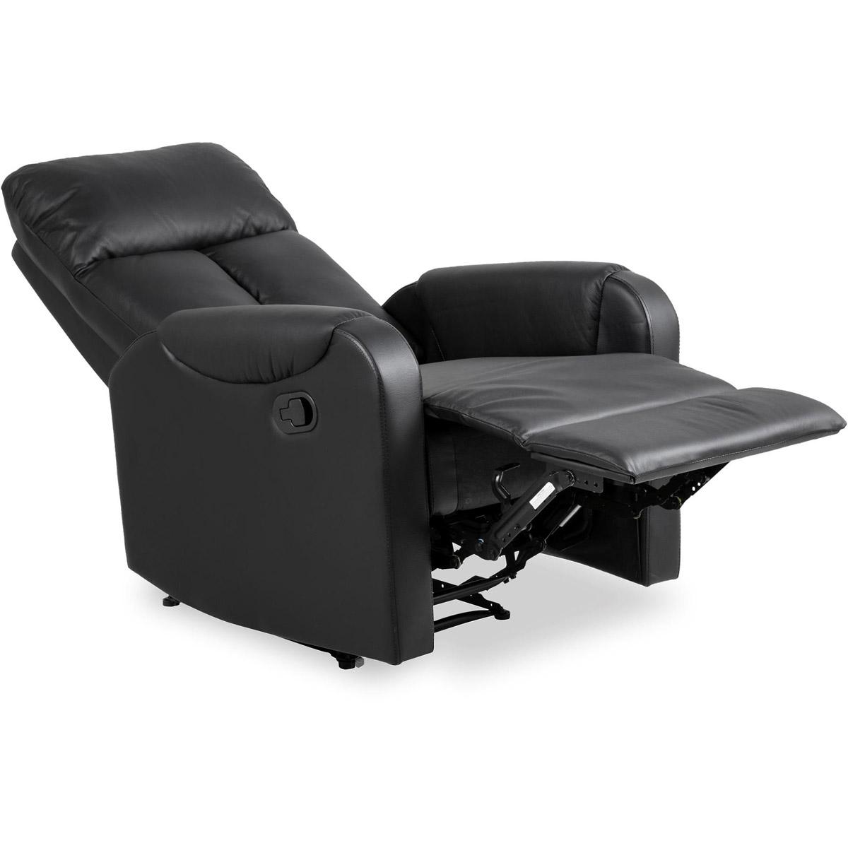 Dublin fåtölj recliner konstläder svart relax-läge