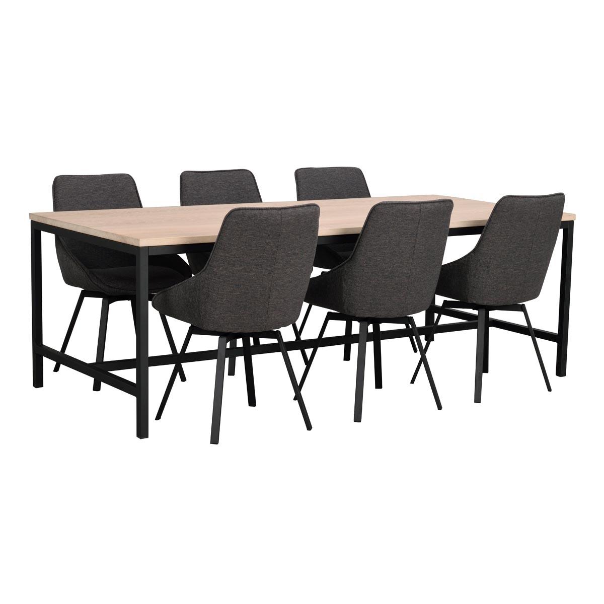 Everett matbord ww med Alison grå stol vinkel