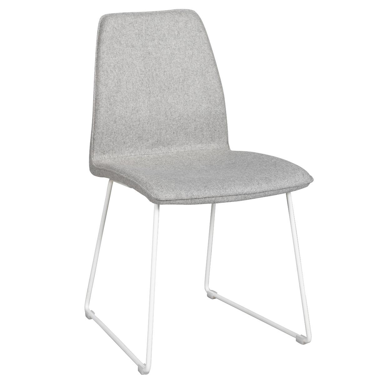 Fairbanks stol ljusgrå med vita ben vinkel