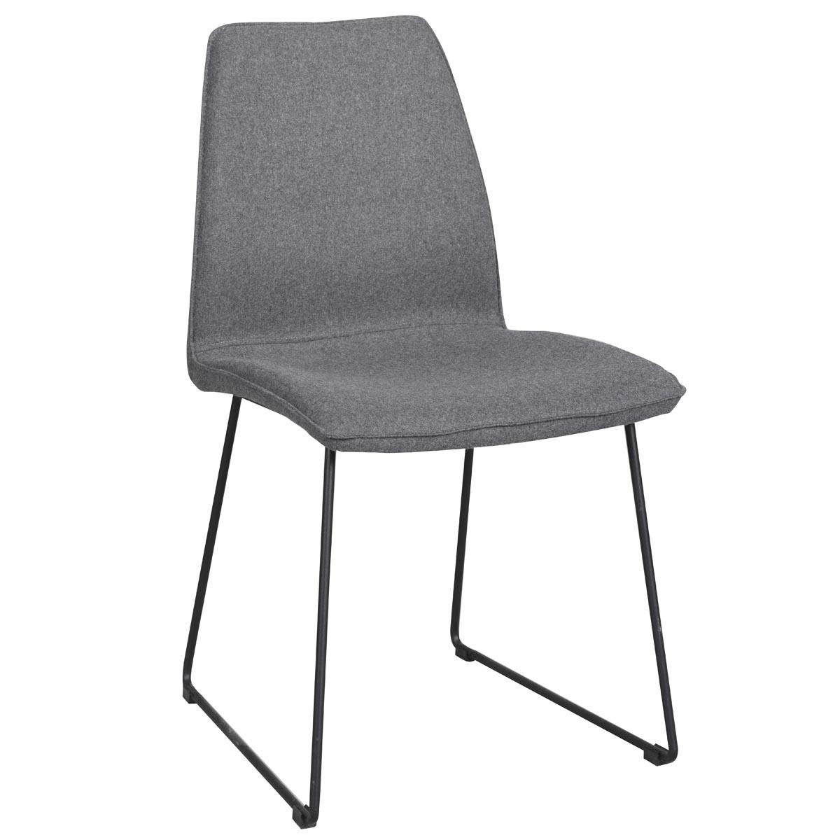 Fairbanks stol mörkgrå med svarta metallben vinkel