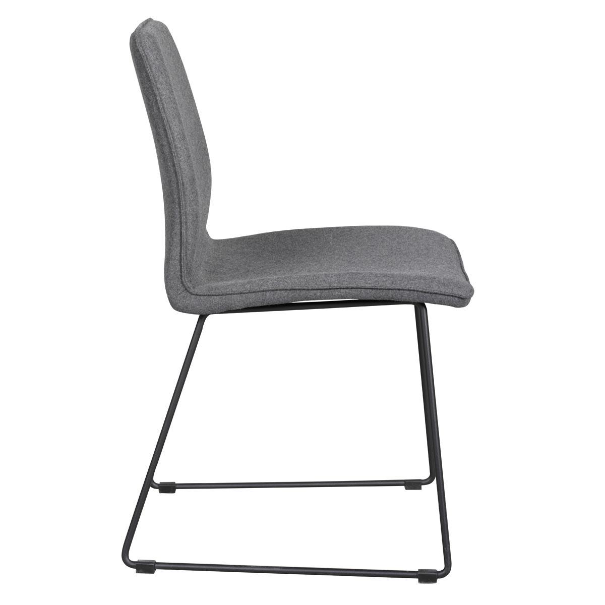 Fairbanks stol mörkgrå med svarta metallben sida