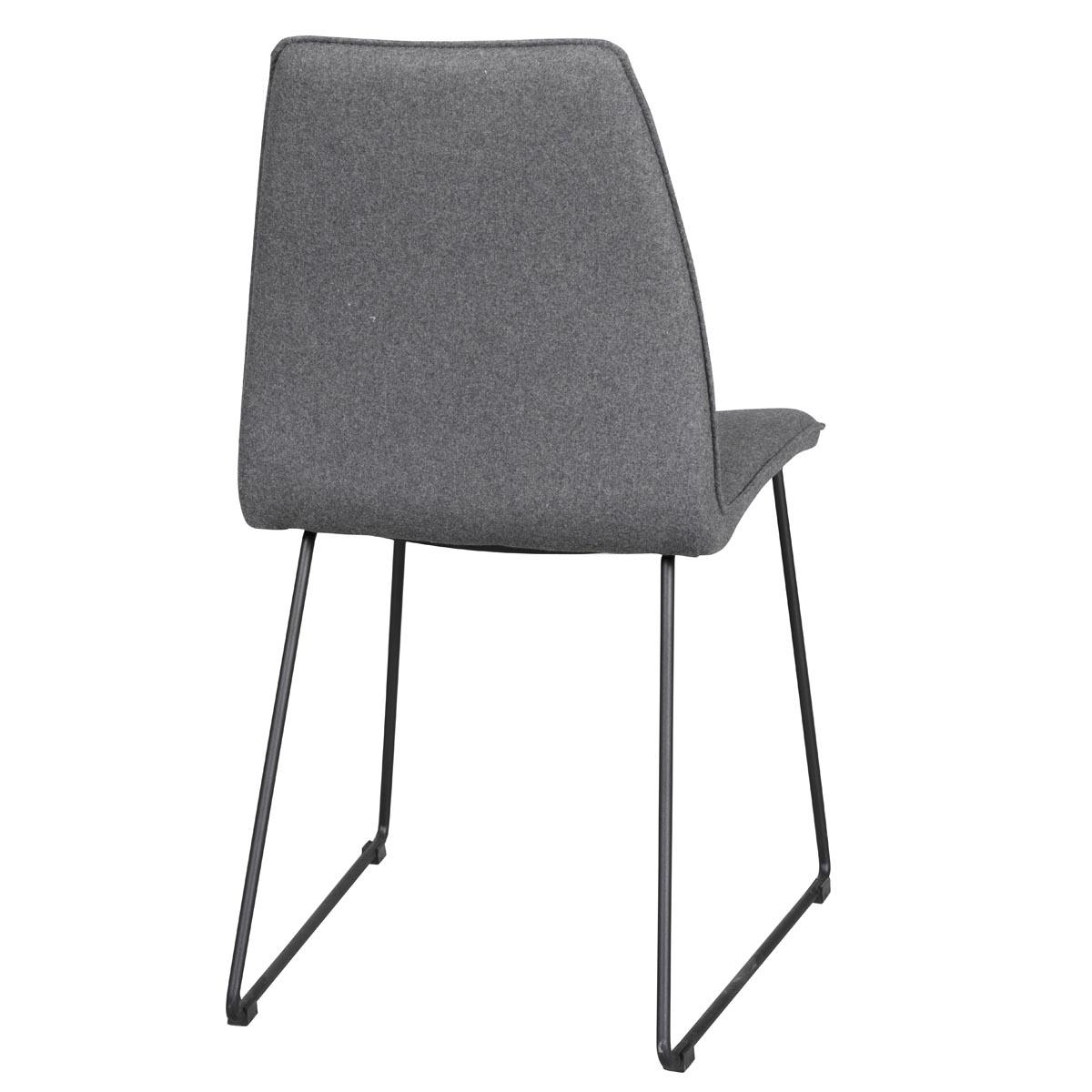 Fairbanks stol mörkgrå med svarta metallben rygg