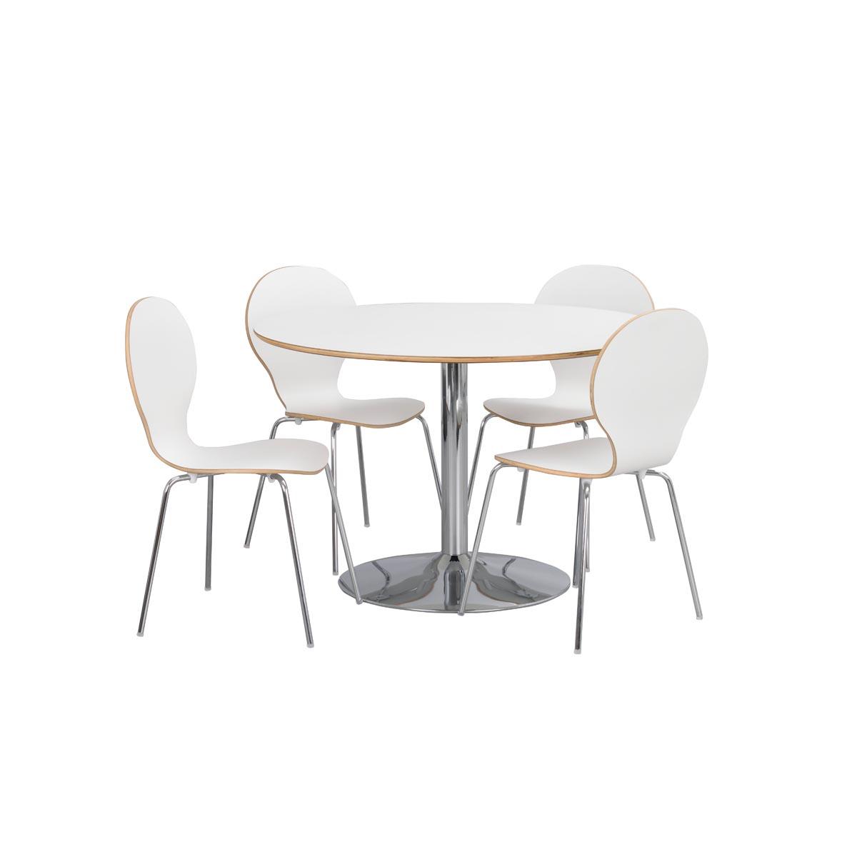 Fusion matbord runt m kromad trumpetfot 118225_b + stol 52115 R