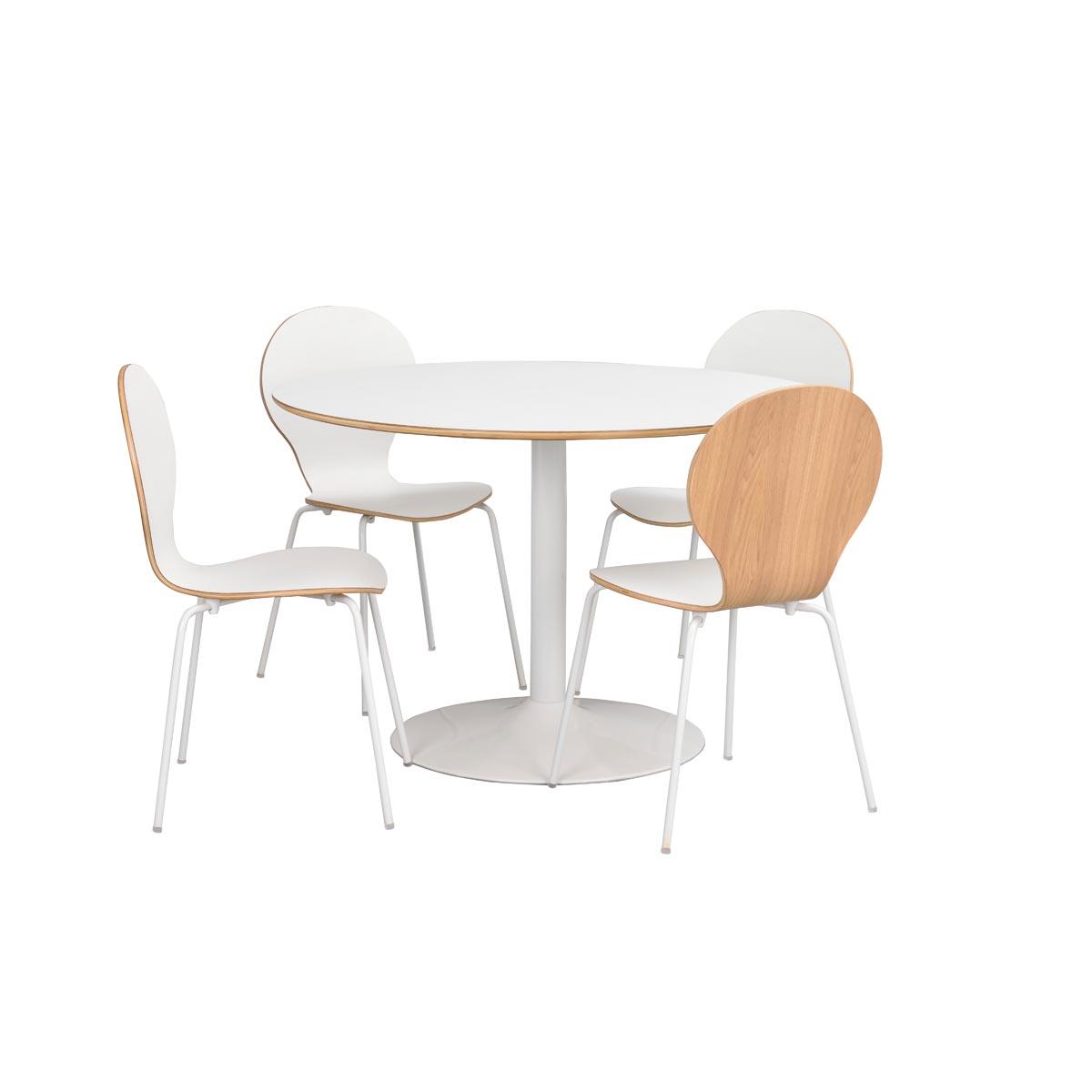 Fusion matbord runt m vit trumpetfot 118224_b + stol 117262 R