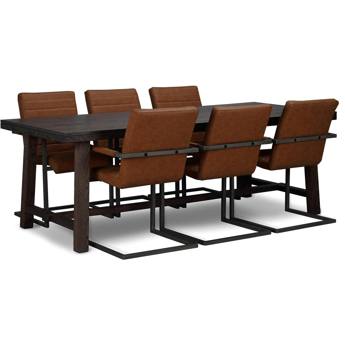 George matgrupp 220 med 6 stolar brunt konstläder