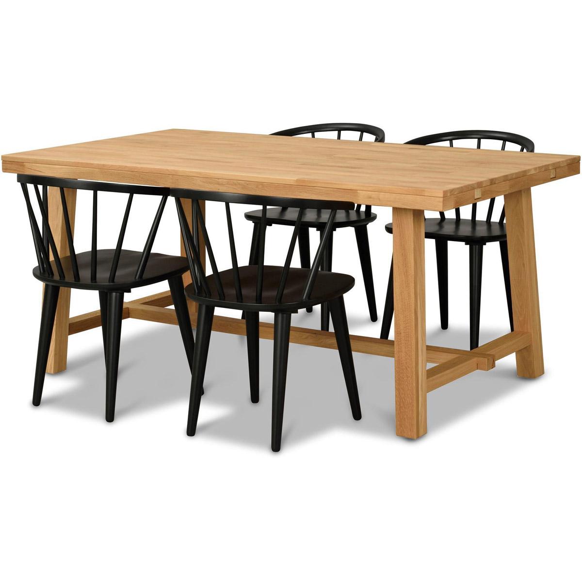 George bord 170 ek med 4 stolar Grandpa svart vinkel