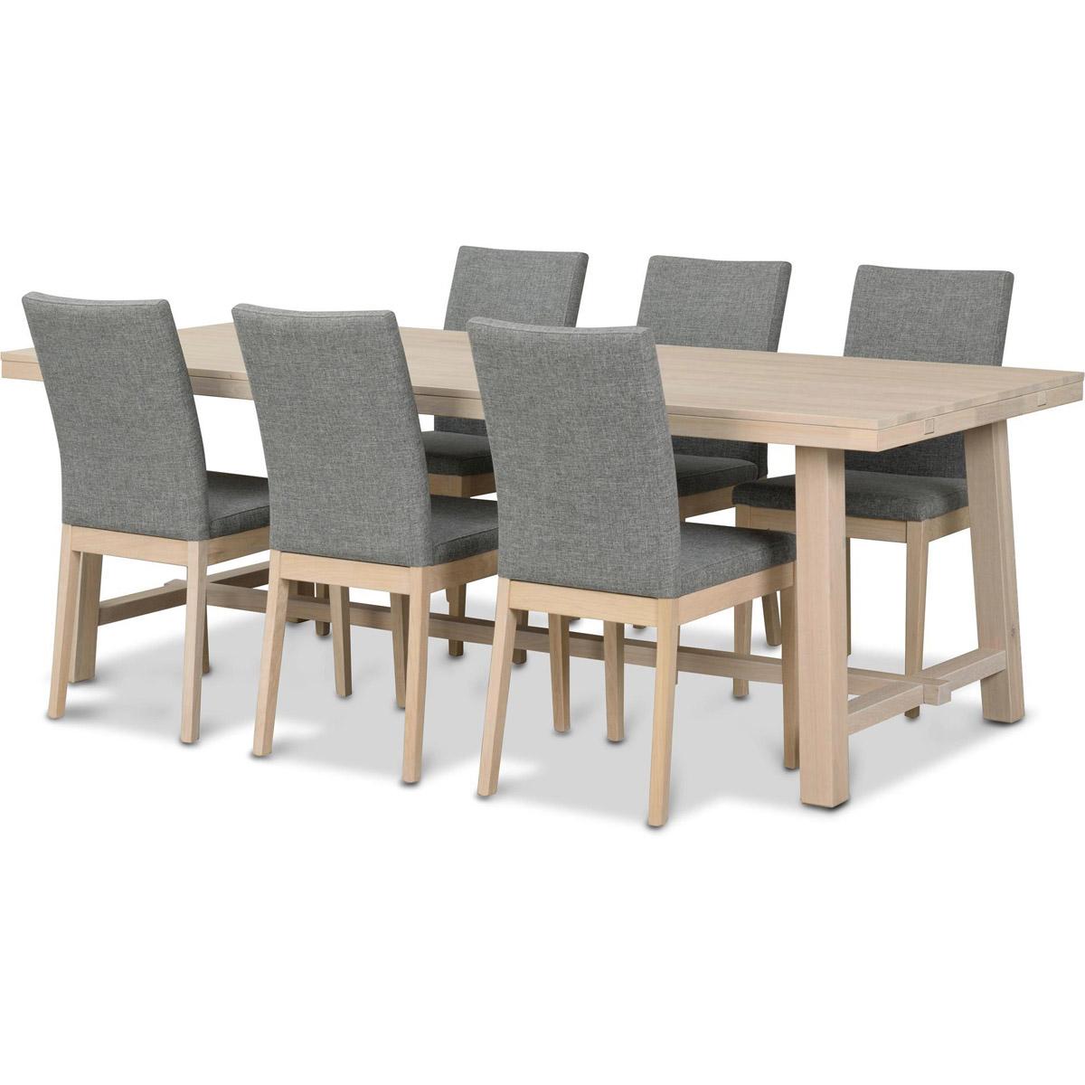George bord vitpigmenterad med 6 stolar Kavaljer ek vitpgmenterad/grått tyg vinkel