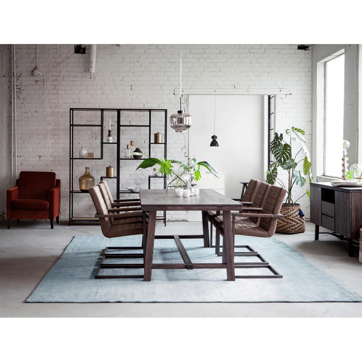 George rökt ek 6 stolar konstläder brun miljö