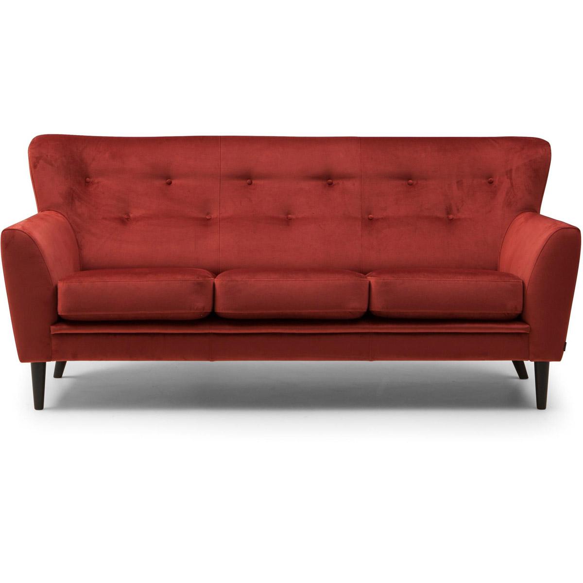 Gilbert 3-sits röd sammet