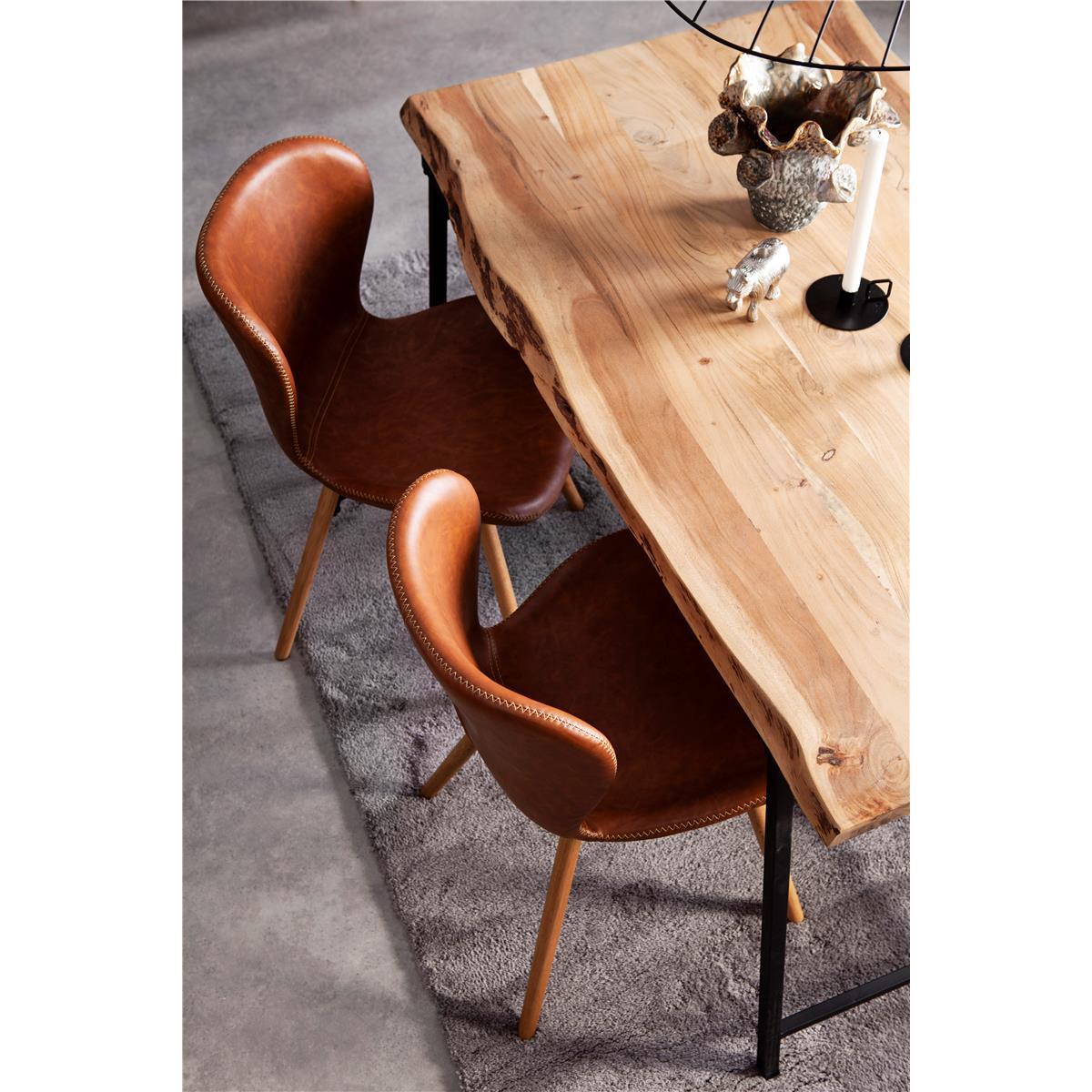 Conrad matbord 140 lotus stol cognac detalj