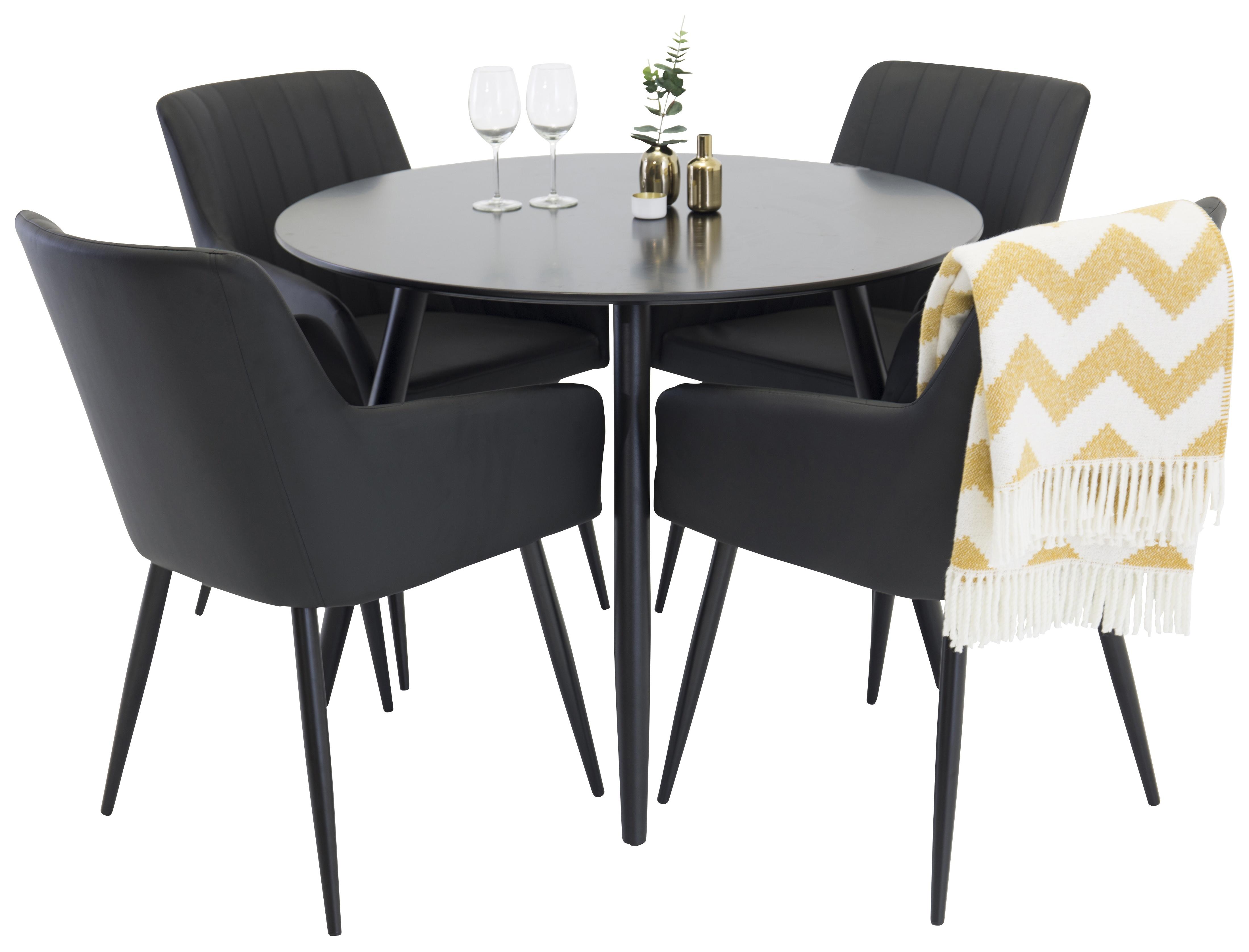 Plaza svart matbord 100 cm med 4 st stolar Comfort svart