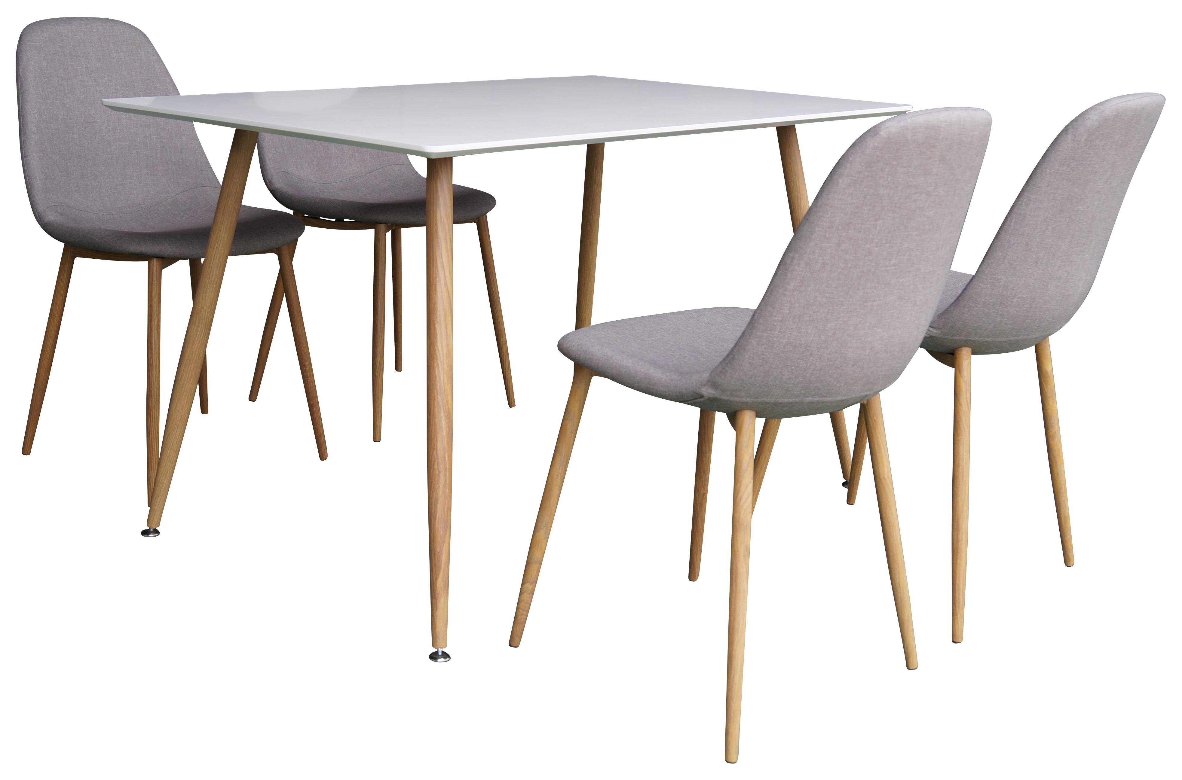 Polar White matbord 120 cm med 4 st Polar Dining Chair Grey/Oak