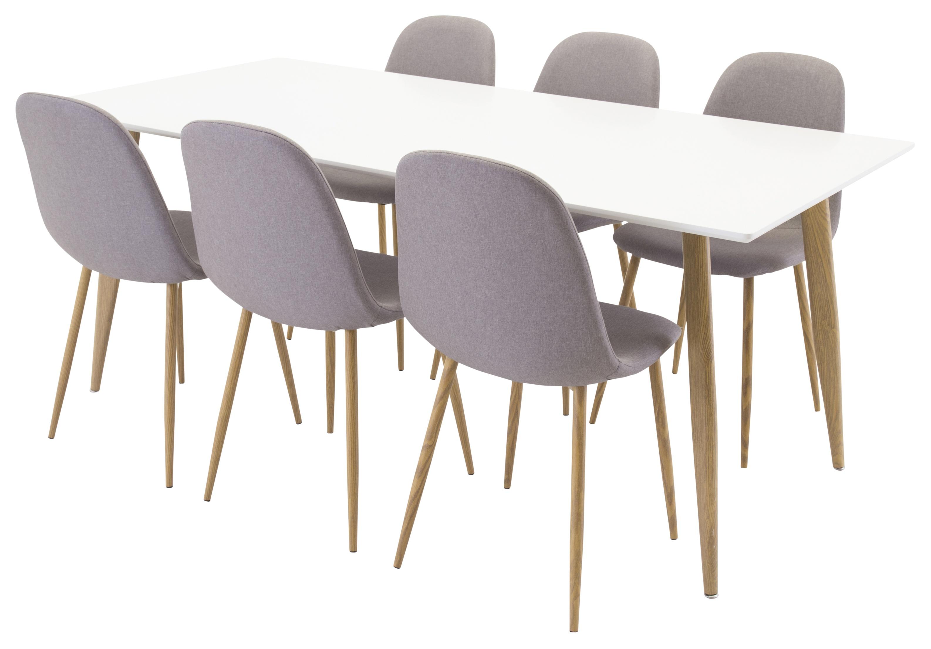 Polar White matbord 180 cm med 6 st Polar Dining Chair Grey/Oak