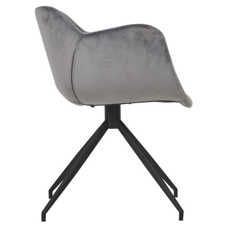Seven matstol sammet grå profil 3