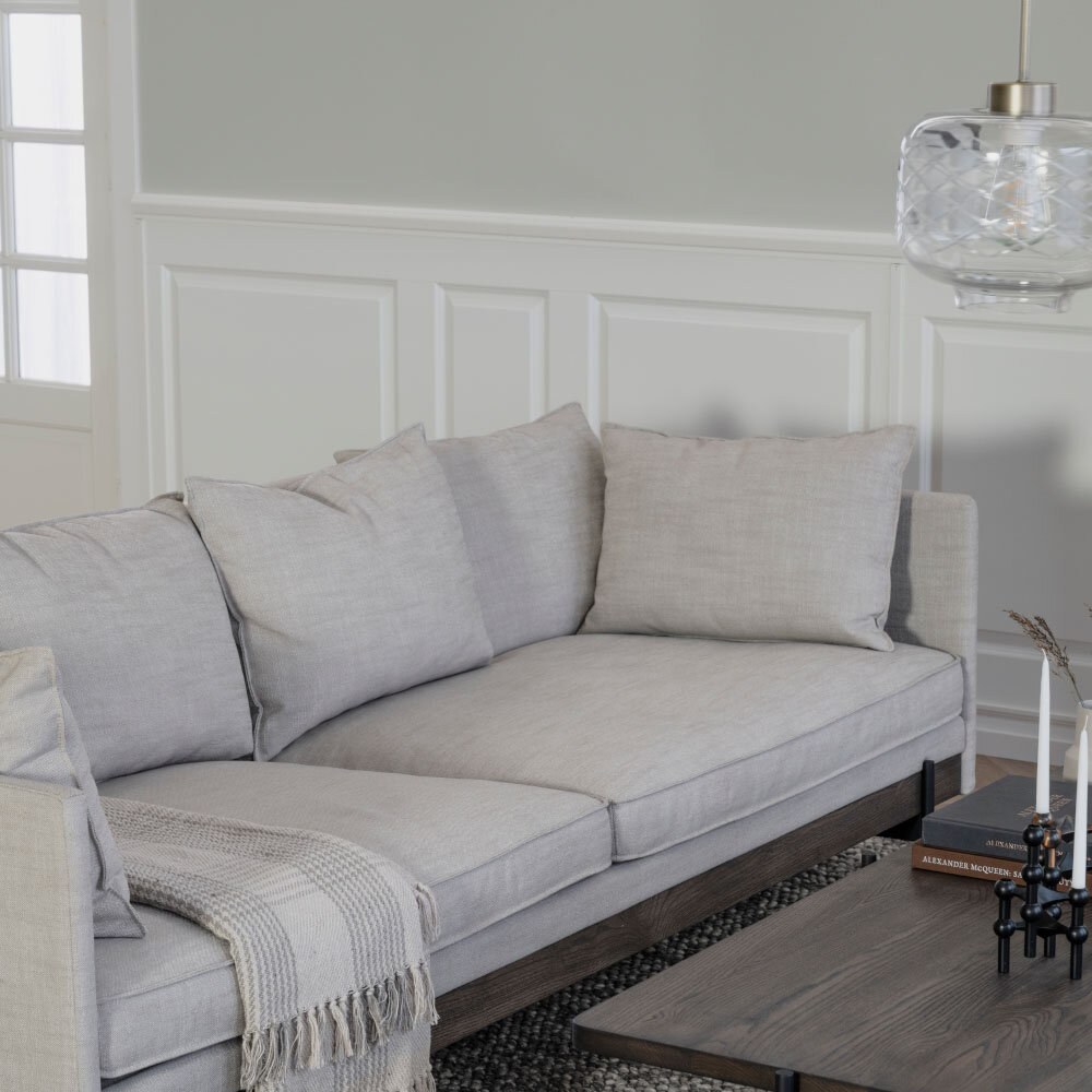 Shelton soffa beige tyg/brun ask/svart metall
