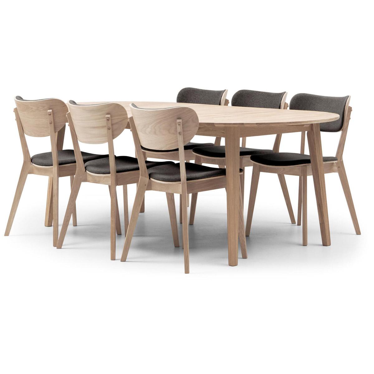 Vasa ovalt bord 170+50 med 6 stolar Clara vitoljad ek/grå