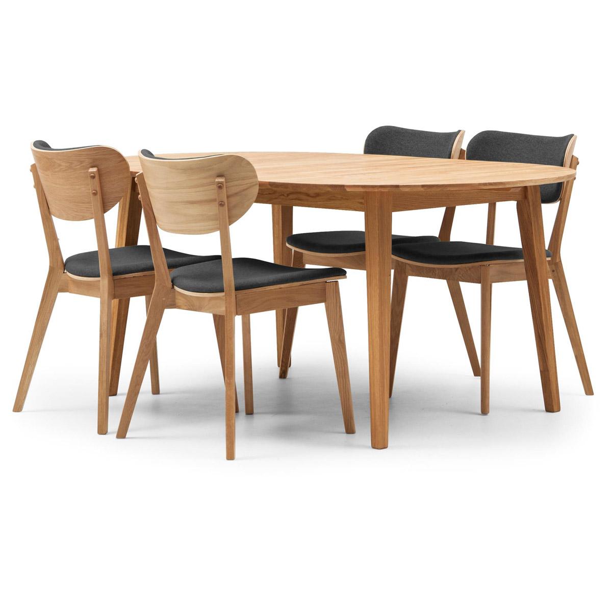 Vasa ovalt matbord ek 170 med 4 stolar Clara ek/grå
